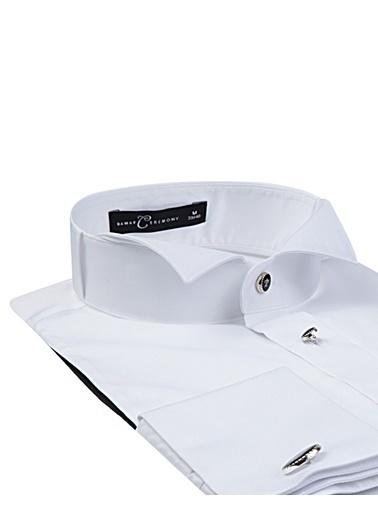 Damat Slim Fit Jakar Desenli Smokin Gömlek Beyaz